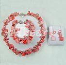 Wholesale Cherry quartz shell pearl set