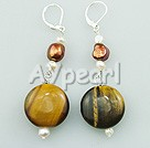 Wholesale tiger eye pearl earring