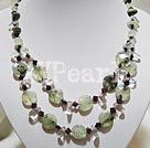 Wholesale Green rutilated quartz garnet crystal necklace