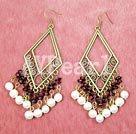 Wholesale garnet pearl earring