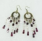 Wholesale garnet pearl earring
