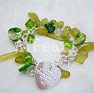Wholesale olive jade crystal shell bracelet