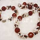 Wholesale pearl red agate set