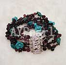 Wholesale green turquoise garnet bracelet