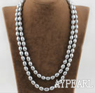 Wholesale silver gray pearl necklace