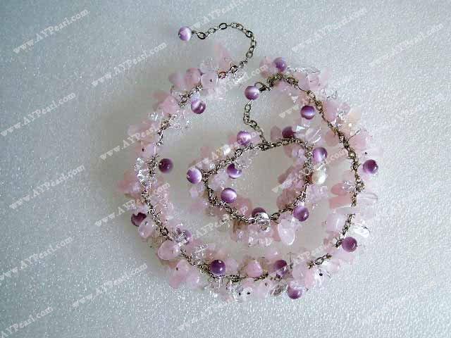 Quartz Crystal Necklace Rose Quartz Cat 39 s Eye Crystal