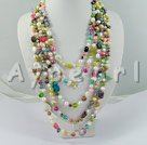 Wholesale multi-color crystal pearl necklace