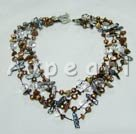 Wholesale Biwa pearl crystal tiger eye necklace