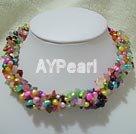 Färgad pärla multi sten halsband