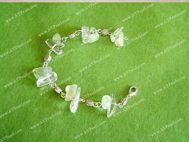 Green rutilated quartz crystal bracelet