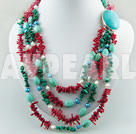 coral and pearl and turquoise necklace