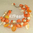 Wholesale coral pearl bracelet
