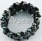 Pearl black stone bracelet