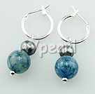 Wholesale earring-pearl blue agate earrings