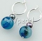 Wholesale Gemstone Jewelry-faceted blue agate earrings