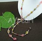 pearl tre-färgade jade halsband