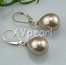 drop shaped seshell pearl earrings