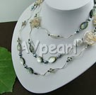 Wholesale biwa pearl black shell crystal necklace