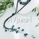 Black Pearl blå agat halsband