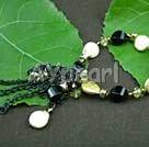 Wholesale black agate coin pearl bracelet