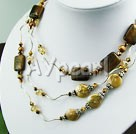 pearl crystal tiger eye necklace