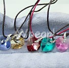 Wholesale Austrian Jewelry-five-color zircon heart shaped pendant(5 pcs)