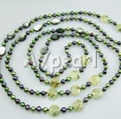 Wholesale pearl faceted green rutilated quartz black shell necklace