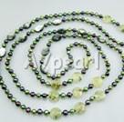 pärla mångfasetterade grön rutilated kvarts svart skal halsband