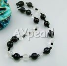 black agate natural white crystal necklace