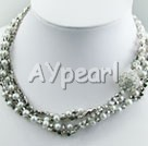 Wholesale pearl and manmade crystal necklace