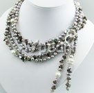 Wholesale pearl and amethyst and smoky quartz necklace