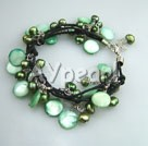 Wholesale green pearl shell bracelet