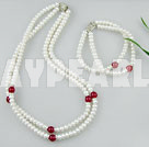 Wholesale pearl blood stone necklace