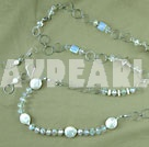 Button pearl and crystal necklace