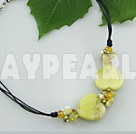 pearl lemon stone necklace