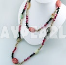 crystal coral agate necklace
