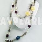 kristall mångfasetterade agat halsband