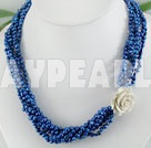 dyed blue pearl necklace
