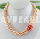 dyed orange pearl necklace