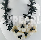 black agate white lip necklace
