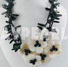 black agate white lip necklace