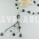 pearl black agate crystal necklace