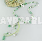pearl aventurine crystal necklace