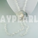 rock crystal shell necklace