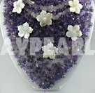 pearl amethyst shell flower necklace