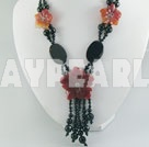 black red agate necklace