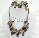 carchedonia smoky quartz jewelry sets