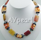 Wholesale pearl and agate and three colored jade necklace