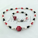 Wholesale coral and shell and black agate sets