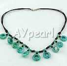 Wholesale Gemstone Jewelry-black agate blue jade necklace